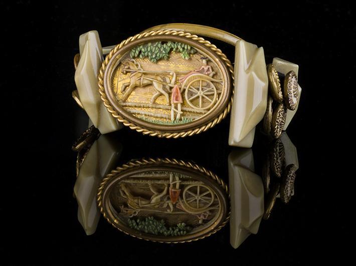 Victorian Scene Plus Vintage Buttons Cuff