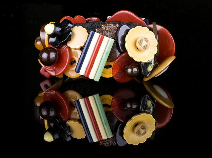 Big Bright Bakelite and Celluloid Button Bracelet