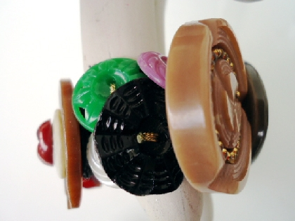 Chunky Cuff Vintage Button Bracelet