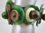 Green and Brown Bakelite Button Plus Bracelet