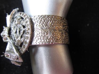 Rhinestone Bow Reworked Vintage Bracelet