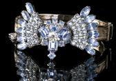 Fabulous Blue Rhinestone Bow Reworked Vintage Bracelet