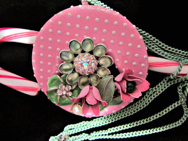 Dotted Swiss with Pink and Green Flowers Necklace