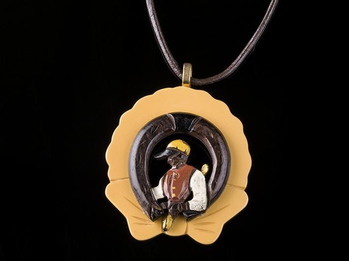 Lucky Jockey on Bakelite Necklace