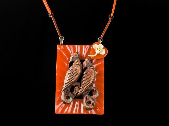 Birds on Bakelite Statement Necklace