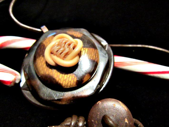 Warm Browns Celluloid Assemblage Necklace