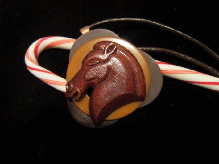 Deco Horse Head on Bakelite Necklace