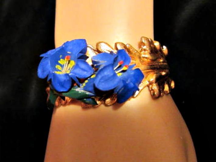 Blue Flower on Copper Vintage Assemblage Bracelet