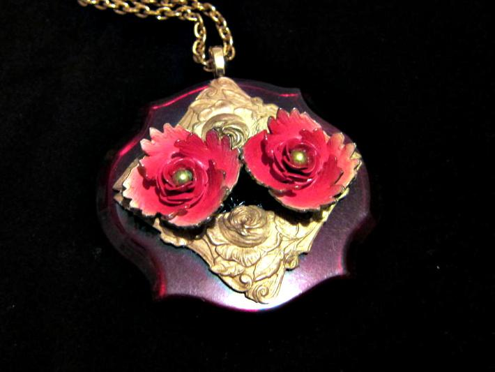 Red and Yellow Bakelite Flower Necklace