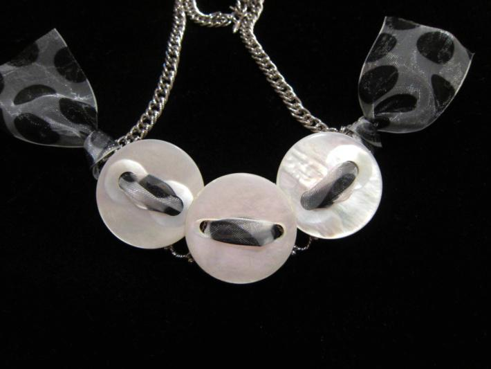 Polka Dot Mother of Pearl Upcycled Button Necklace