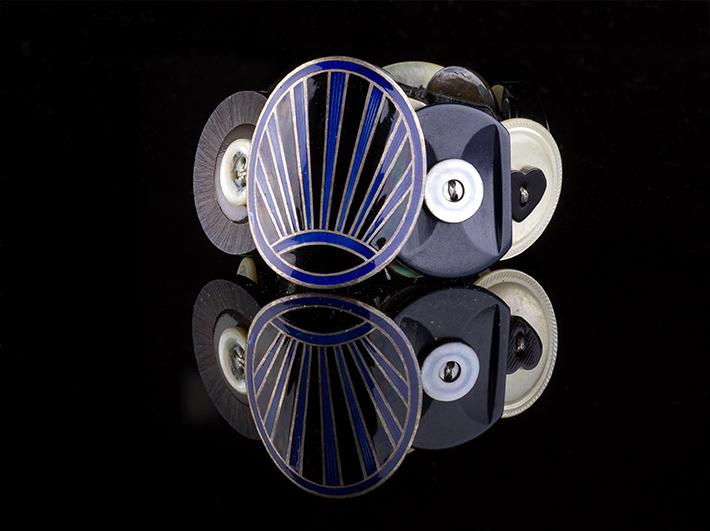 Deco Style Blue and Black Enamel with Vintage Button Bracelet