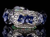 Cut Steel and Blue Flowers Vintage Button Plus Bracelet