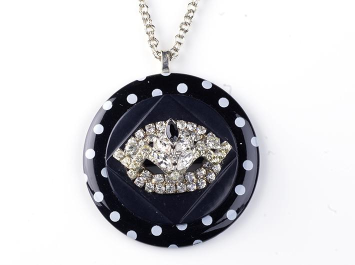 Polka Dots and Bling Vintage Assemblage Necklace