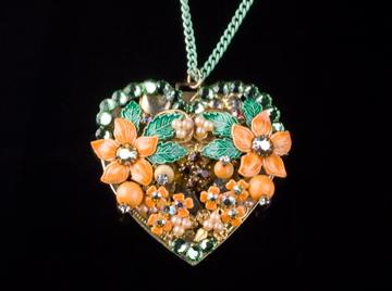 Flowery Heart Vintage Assemblage  Necklace