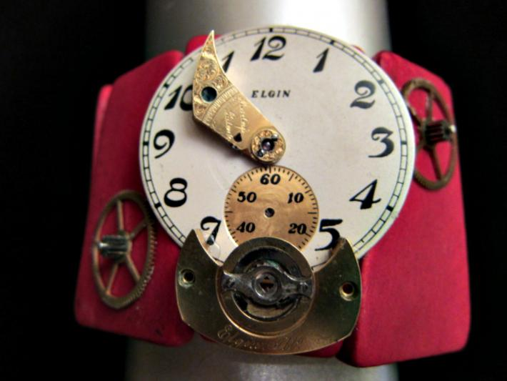 Steampunk on Red Wood Cuff Bracelet