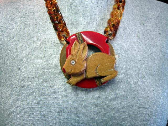 Bunny Wood and Bakelite Necklace