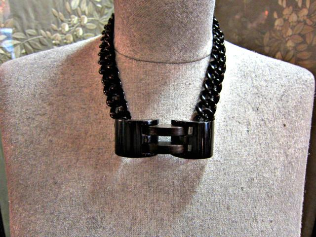 Black bakelite and wood pendant necklace