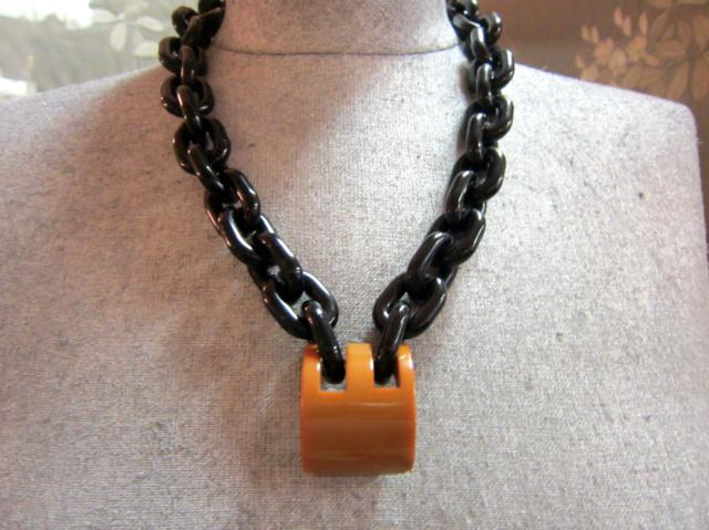 Caramel bakleite and black acrylic necklace