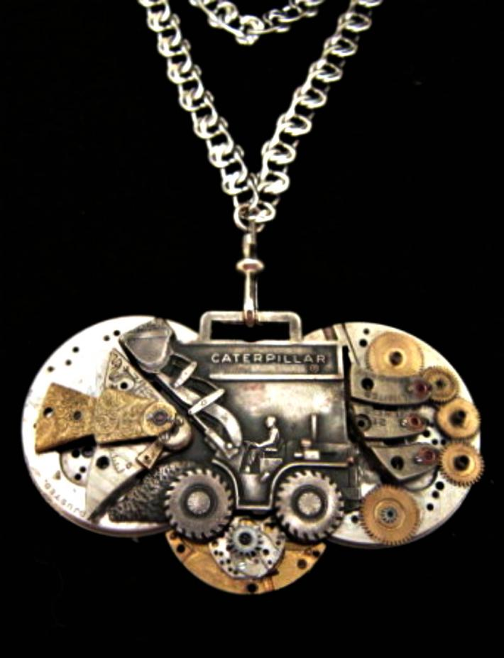 Caterpillar Steampunk Art Necklace