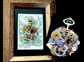 Green Time Steampunk Art Necklace