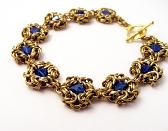 Hand Cut Bronze Byzantine Wrap Bracelet with Glass Crystals OOAK