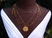 Hibiscus Flower Multilayer Gold Necklace OOAK