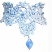 Crocheted Beaded Choker in Pale Blue