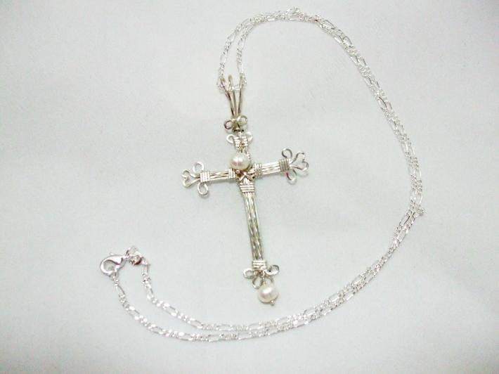 Cross Necklace Silver and Pearl
