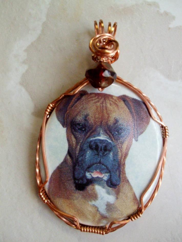 Wirewrapped Porcelain Cameo Pendant Sarge the Boxer