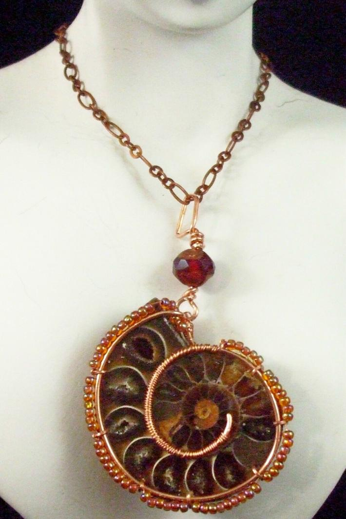 WireWrapped Ammonite Necklace