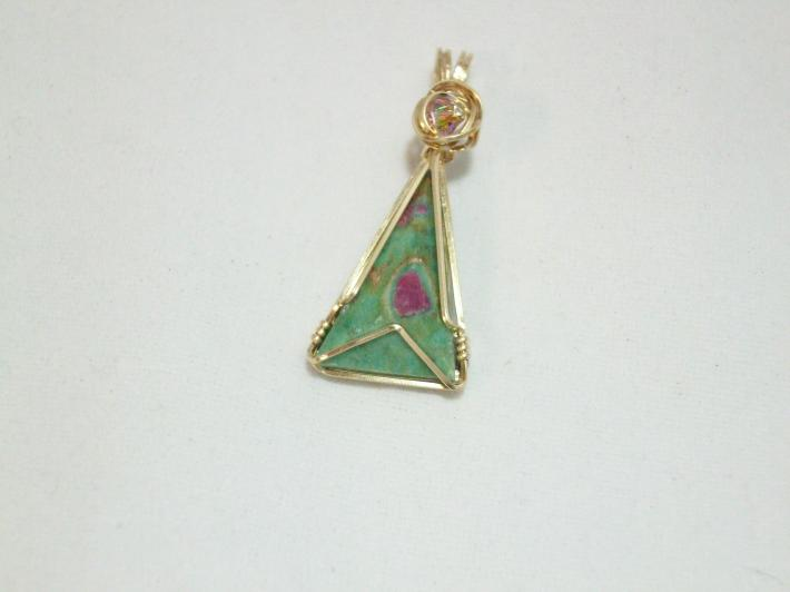 Wirewrapped Pendant Gold with Ruby in Fuschite