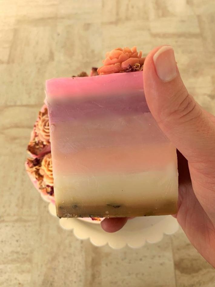 Pink Sugar Cake Slice
