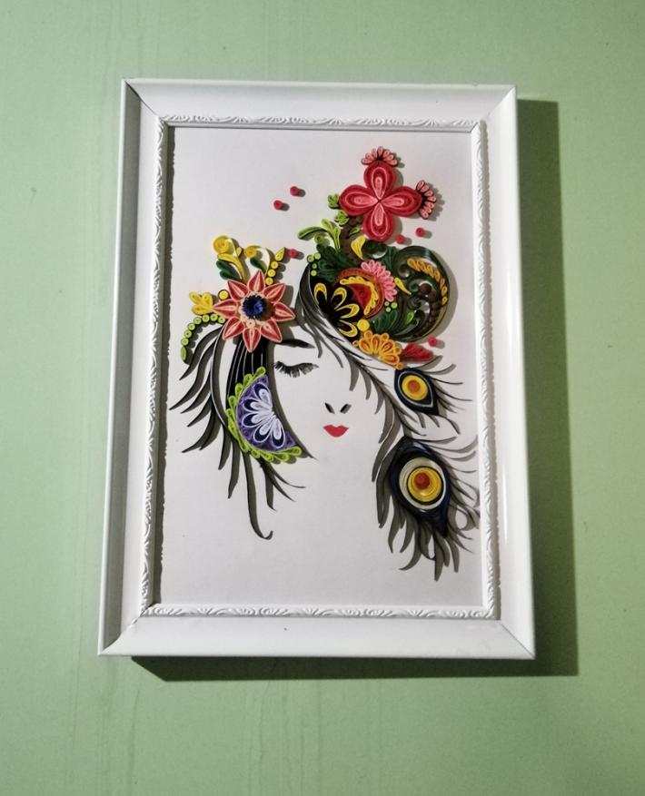 Most Beautiful paper quilling Girl face as the  wall design