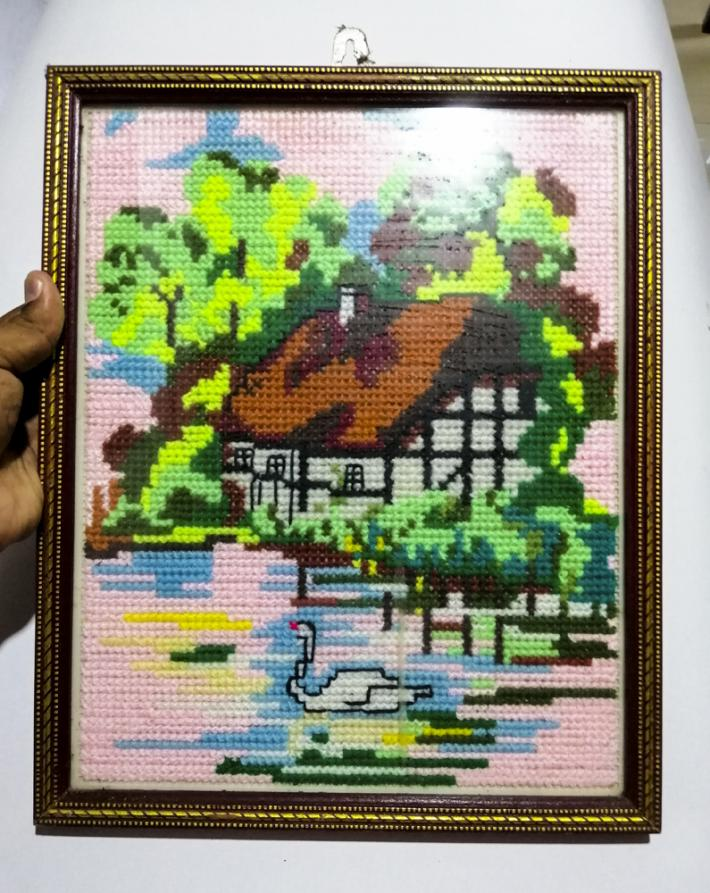Handmade Cross stitch wall hanging picture