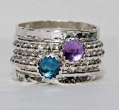 Birthstone Rings Set Rose Cut London Blue Topaz Amethyst February Birthstone Ring Stackable Ring Sterling Silver Ring Mothers Stack Ring