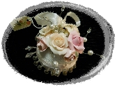 Ornament Shabby White Pink Clay Roses dazzling glitter pearls cottage chic