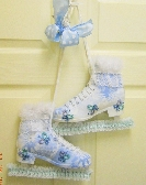 Ice skate Decor HM Door hanger Mantel Decor Shabby chic tatted butterflys