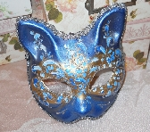 Cat Mask Art Mask handpainted blue silver white glitter