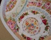 Mosaic Tray shabby chic broken china plate rims clay roses pearls