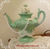 Teapot Centerpiece Vintage 1905 Repurposed HM sage pearls roses lace