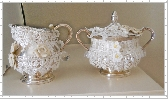 Sugar Creamer Silver plate Centerpiece HM clay roses Old Lace Pearls