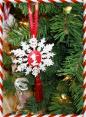 Glitter Snowflake Christmas Ornaments Cameo Tassel glitter ribbon Handmade