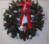 Wreath One of a kind Artisan made all occasion country display red Gingham Green