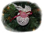 Christmas Ornament vintage feel Burgundy with cream colored doily mauve rose and burgundy ribbon