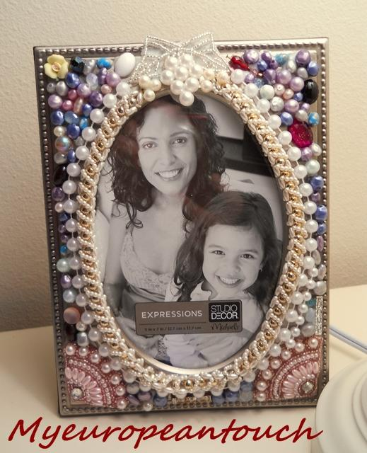 Jeweled Picture Frame Handcrafted Pearls Swarowsky Bling Photo Frame Oval room for picture