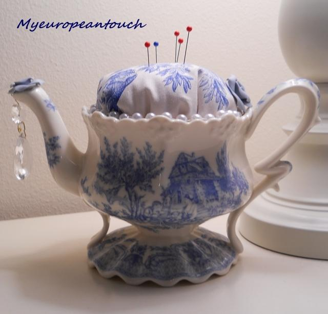 Teapot Pincushion handmade Teapot Pincushion blue ivory white crystal