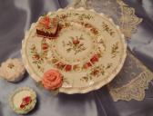 Mosaic Pedestal Cake plate handmade broken china mosaic pearls stained glass handmade clay roses