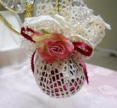 Handmade Ornament gift vintage doily lace burgundy cream pink ribbon Gift