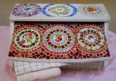 Handmade Shabby Chic Mosaic vintage bread box revived with a mosaic of china plates and stained glass