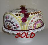 SOLD Cake Dome Cake Server handmade Designer made China Plate Mosaic on vintage cake dome White Pedestal cake plate